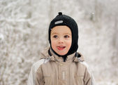 Boy on a winter walk — Stock Photo