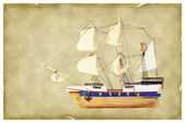 Ship on old paper — Stock Photo