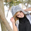 Girl portrait and winter scene — Stock Photo