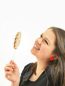 Girl with a lolipop — Stock Photo