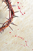Crown of thorns with blood on grungy bac — Stock Photo