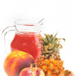 Fresh fruits and juice — Stock Photo