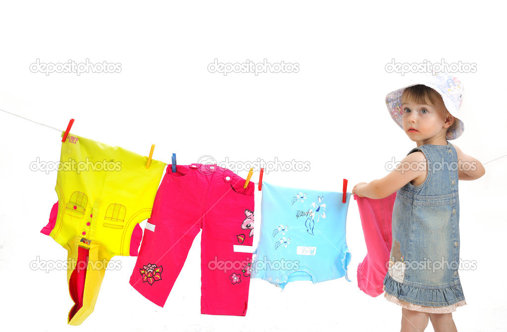 Child and clothesline — Stock Photo #1997488