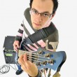 Boy with bass guitar and amp — Stock Photo #2013396