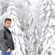 Winter man attitude — Stock Photo