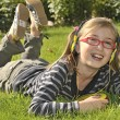 Girl listening music in headphones — Stock Photo #2024632