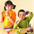 Kids painting eggs — Foto Stock