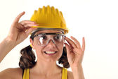 Safetty hat and glasses — Stock Photo