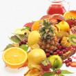 Stock Photo: Fresh fruits and red juice