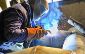 Cutting metal with plasma equipment — Stock Photo