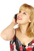 Young woman talk a mobile phone — Stock Photo