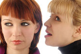 Two young woman talk — Stock Photo