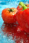 Papriky a rajčata ve vodě — Stock fotografie