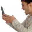 Anger man with phone — Stock Photo