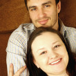 Closeup portrait of a happy young couple — Stock Photo