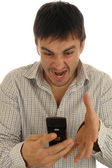 Angry with phone — Stock Photo