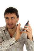 Man phone emotion unpleasant — Stock Photo