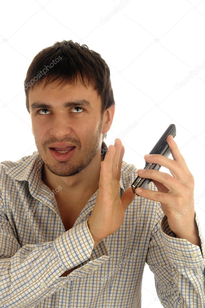 Man phone emotion unpleasant                                — Stock Photo #2227670