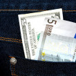 Money in jeans closeup - Stock fotografie