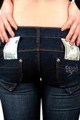 Jeans money back — Stock Photo