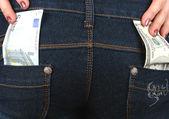 Money in jeans — Stock Photo