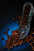 Crystall shoe with coffee — Stock Photo