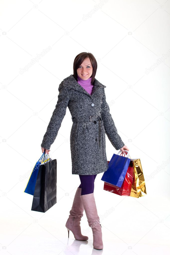 Girl is happy because of a good shopping day — Stock Photo #1986823