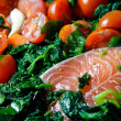 Salmon with Spinach and Tomatoe — Stock Photo