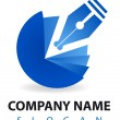 Stock Photo: Business logo: blu pen and inkwell