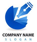 Business logo: a blu pen and inkwell — Stock Photo