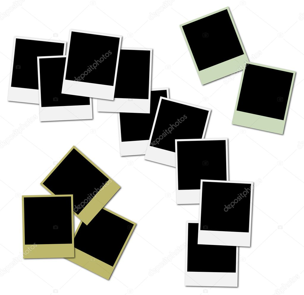 3 sets of colored polaroid frames ready to insert photos and create photo collages photo by sailing