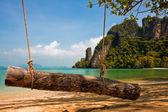 Log Swing on a Tropical Beach — Stock Photo