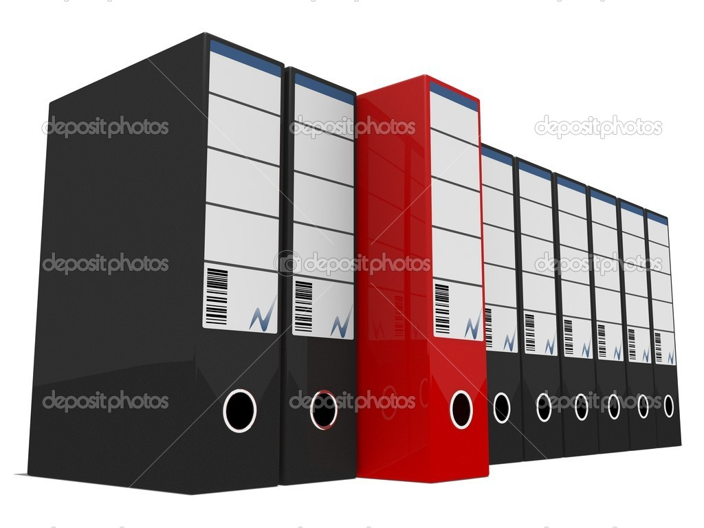 A red boxfile standing out amongst black boxfiles isolated on white  Stock Photo #1940186