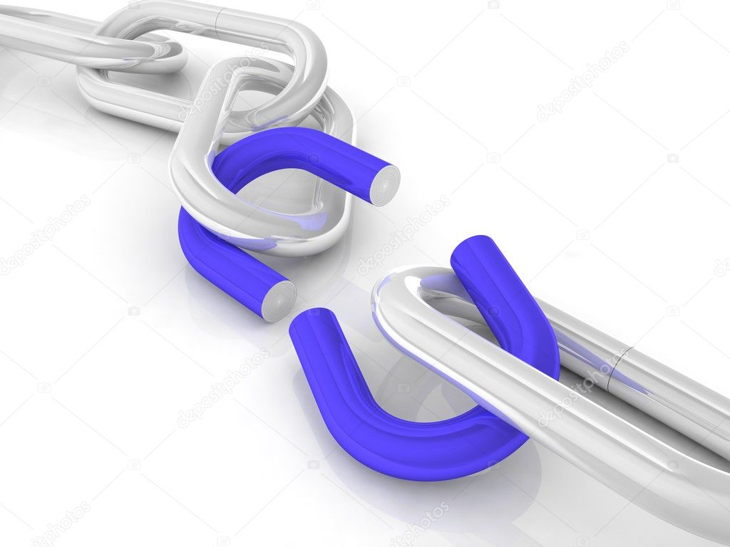 Chrome chain with a broken blue link — Stock Photo #2011302