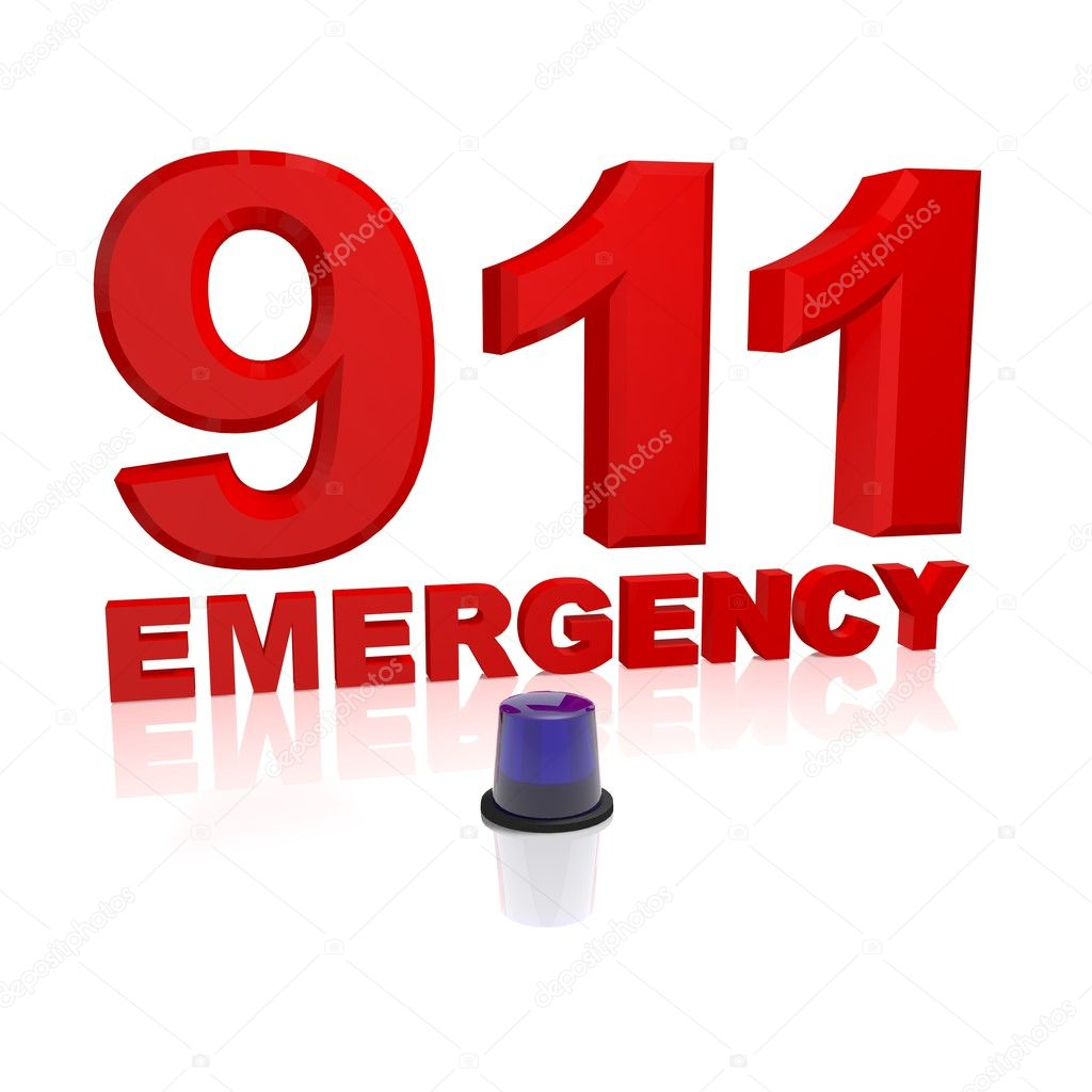 911 emergency text with a blue light isolated on white  Stock Photo #2013163