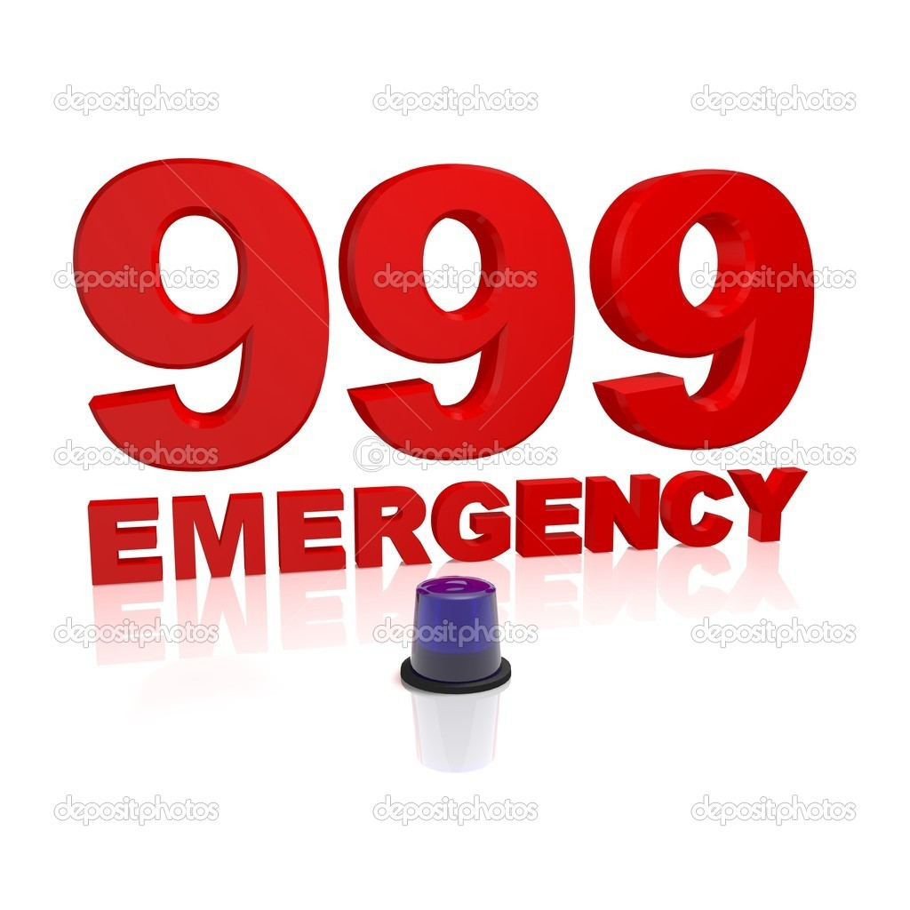 999 emergency text with a blue light isolated on white — Stock Photo #2013224