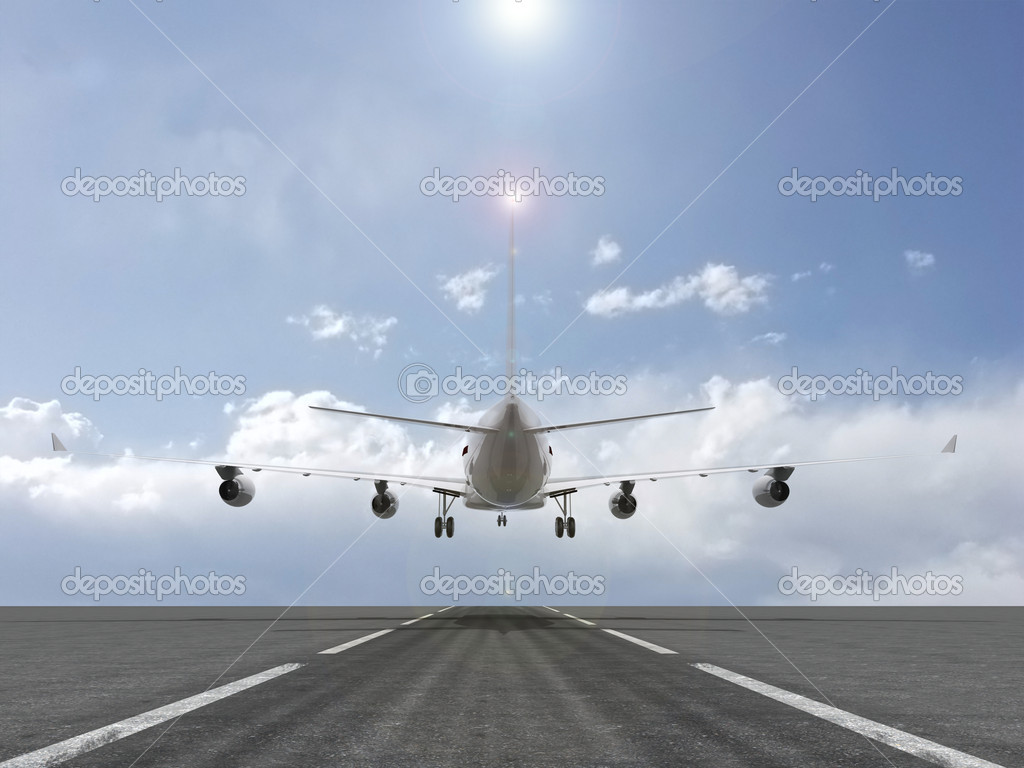 A plane landing 3d illustration  Stock Photo #2013325