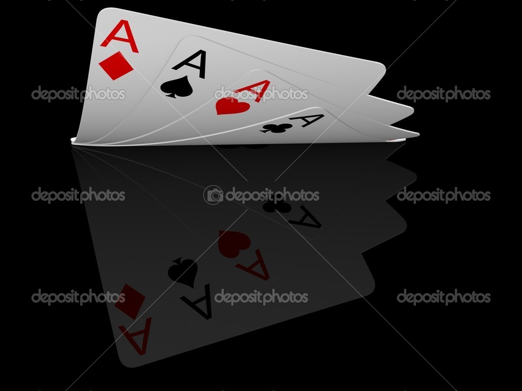 Four ace cards isolated on black — Stock Photo #2013580