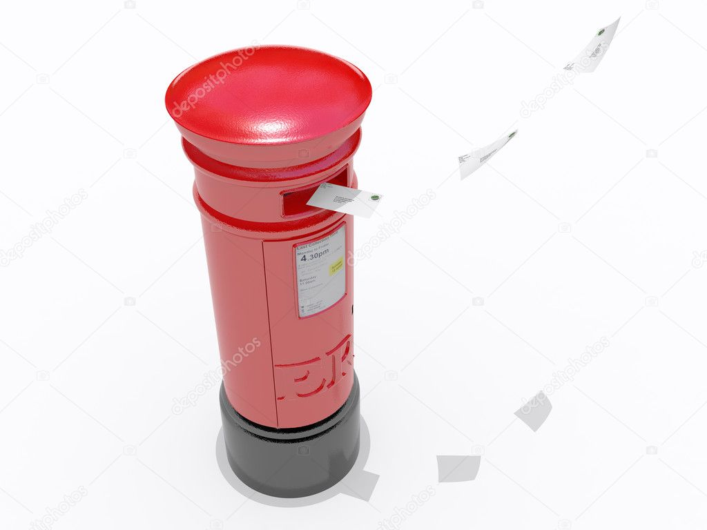 An old red pillar box isolated on white — Stock Photo #2253019