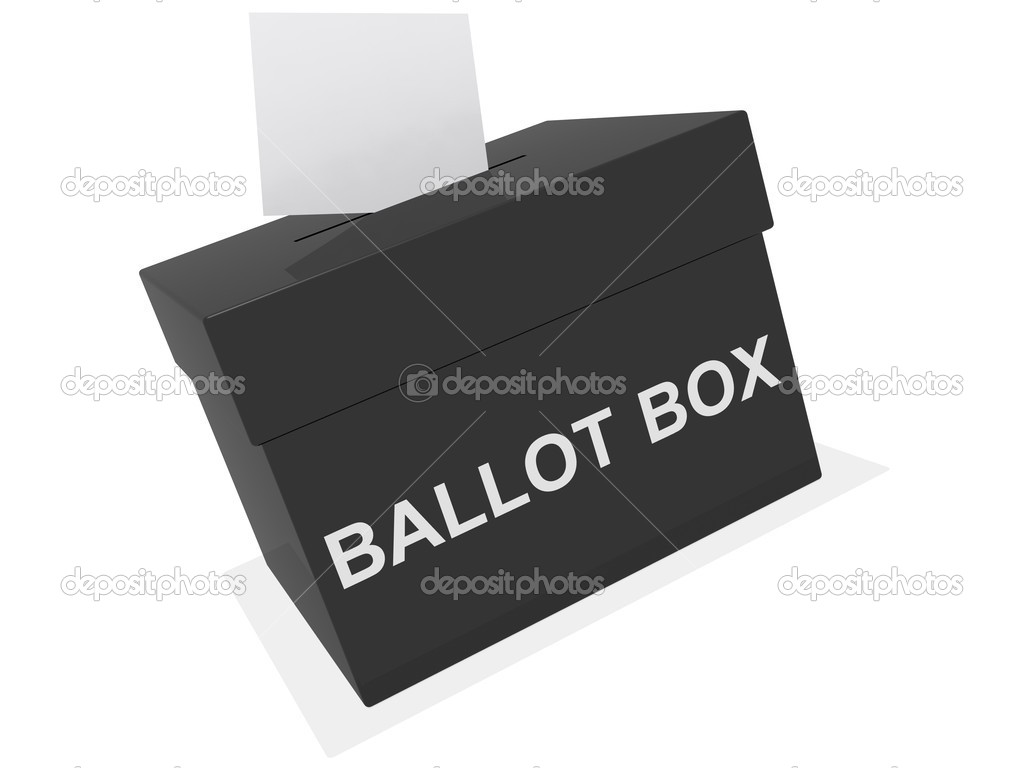 A black ballot box isolated on white — Stock Photo #2439650