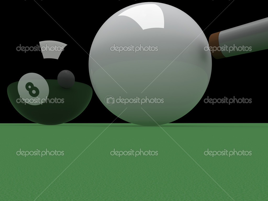 Cueing up to pot the eight ball  — Stock Photo #2473463