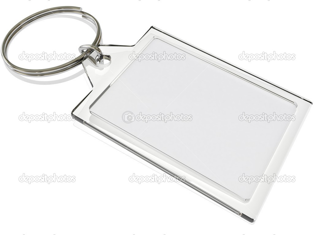 An isolated keyring on white with blank insert — Stock Photo #2483708