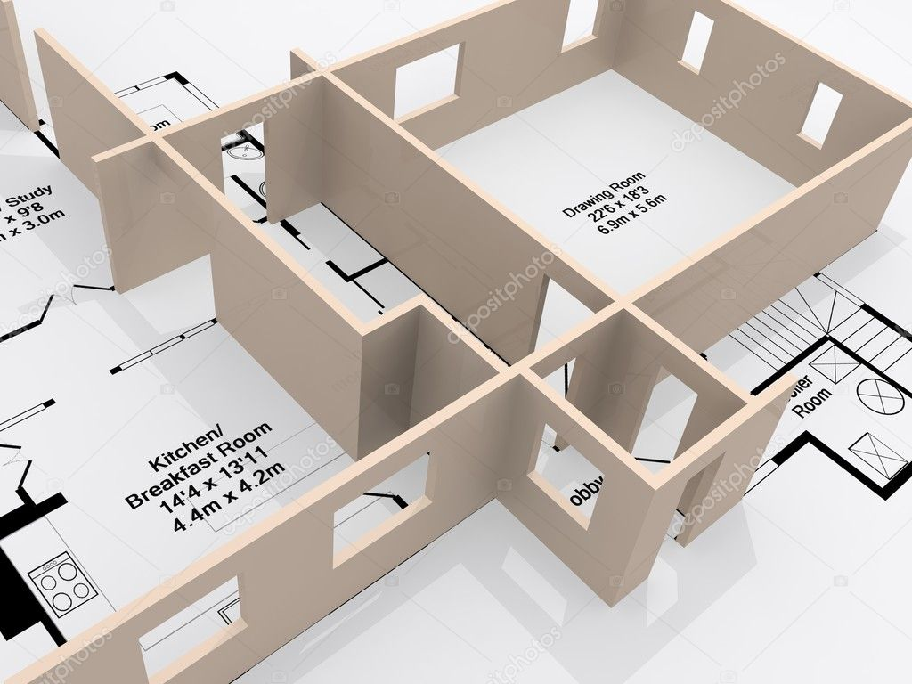 Plans of a house with a 3d model rising from the page — Stock Photo #2496067