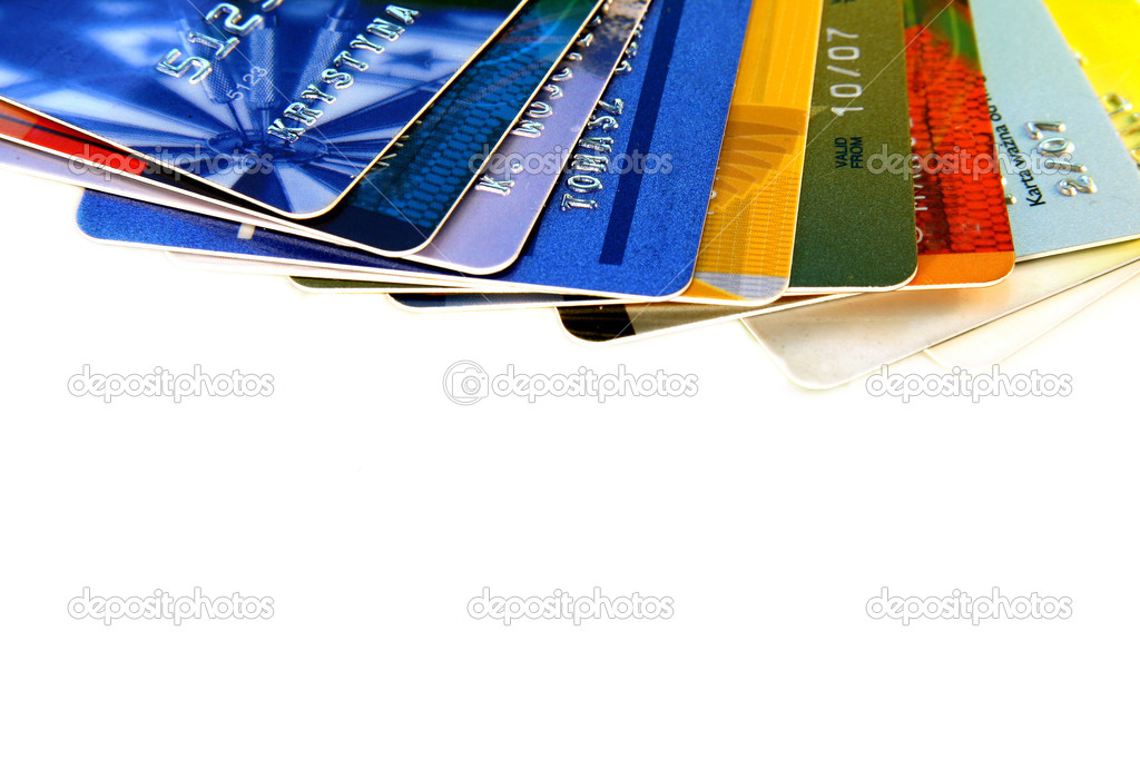 Colorful credit cards on a light background  Foto de Stock   #1940410
