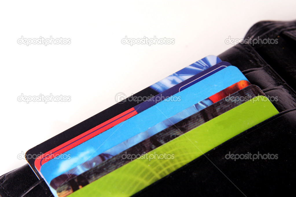 Credit Cards in a black wallet on a light background — Stock Photo #2022782