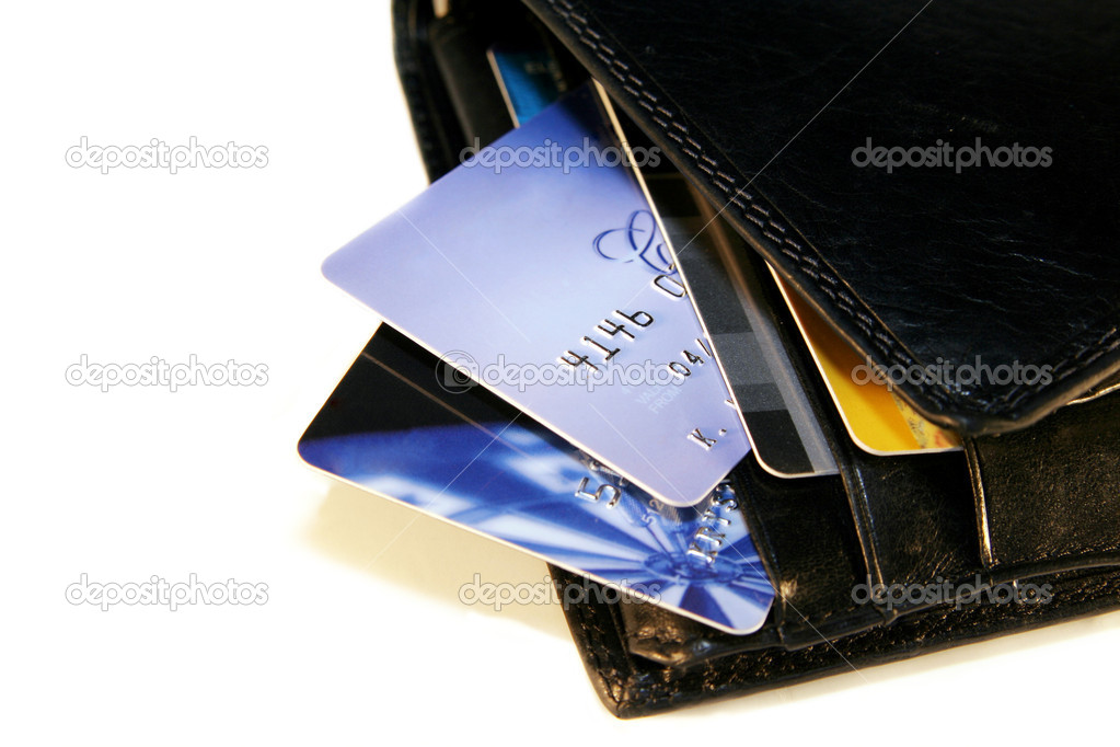 Credit Cards in a black wallet on a light background — Stock Photo #2023140