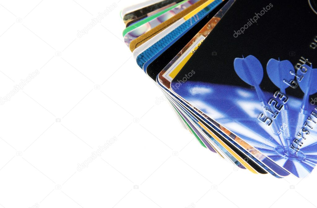 Colorful credit cards on a light background — Stock Photo #2137685