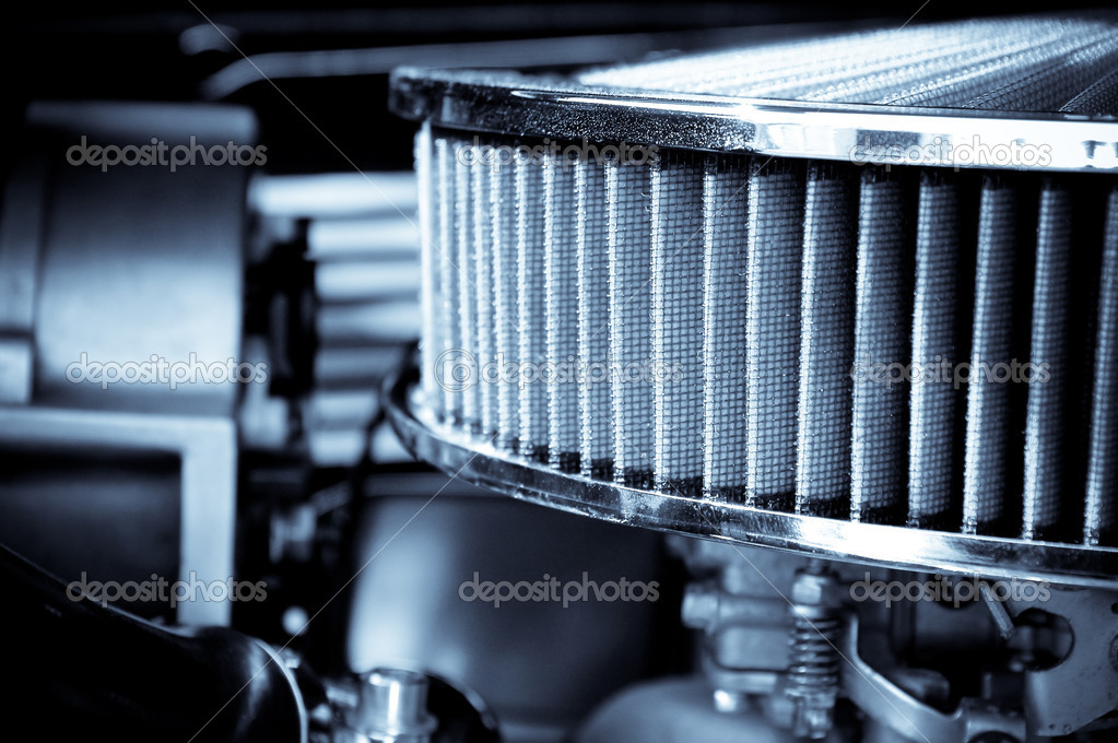 Performance engine air intake filter and carburetor  Stock Photo #2028034