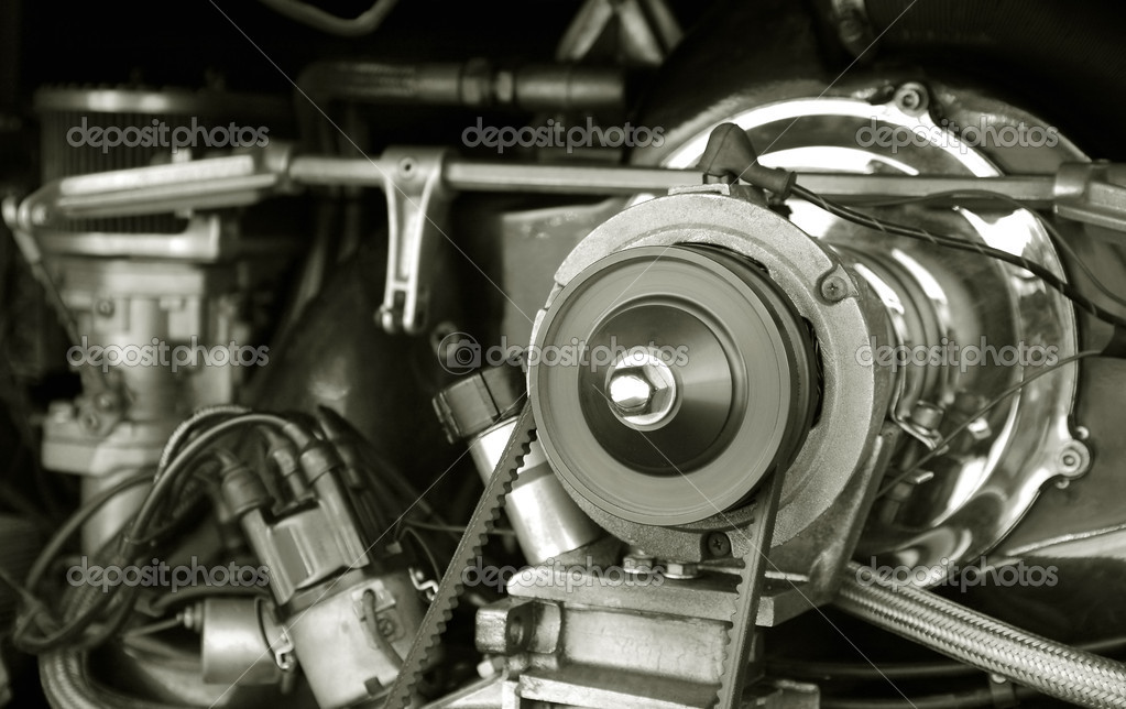 Exposed 1960's vintage RV camper van engine — Stock Photo #2028724