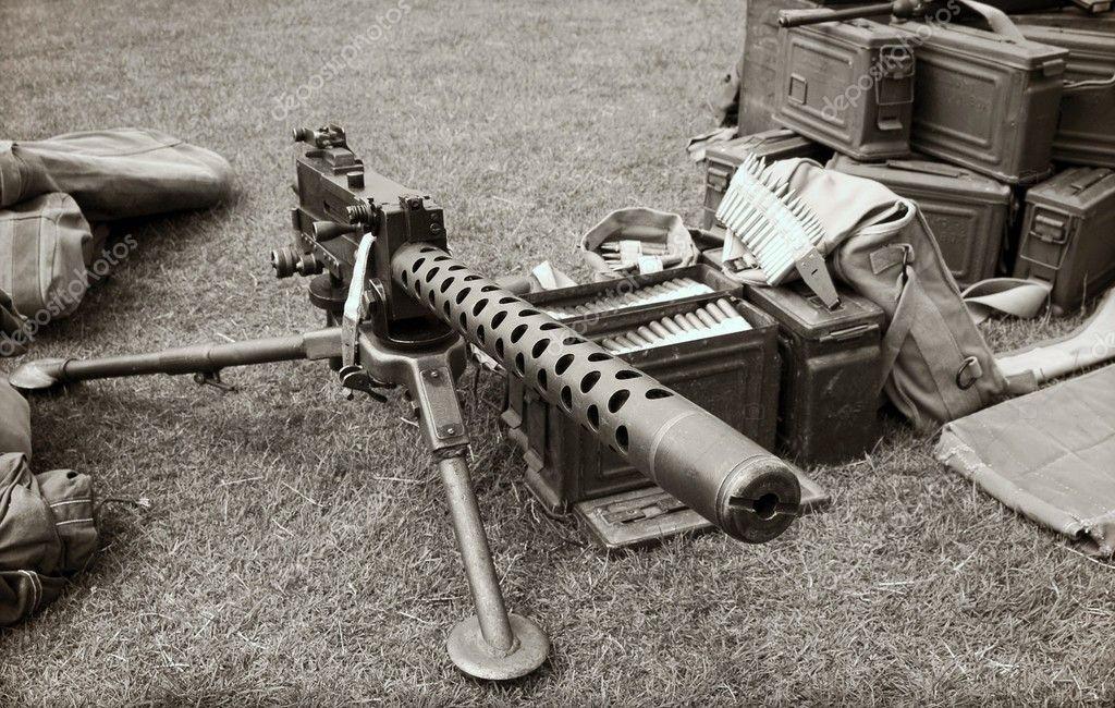 Machine Gun Ammo Box Vintage Ww2 Machine Gun And Ammo Boxes Photo by Nelsonart